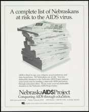 Poster of A complete list of Nebraskans at risk to the AIDS virus.