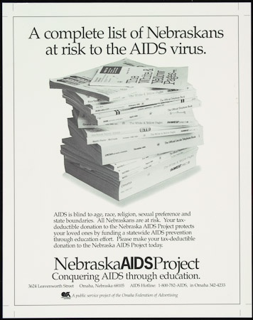 Poster of Complete list of Nebraskans at risk to the AIDS virus.