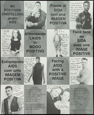 Poster of Facing AIDS with a positive image.
