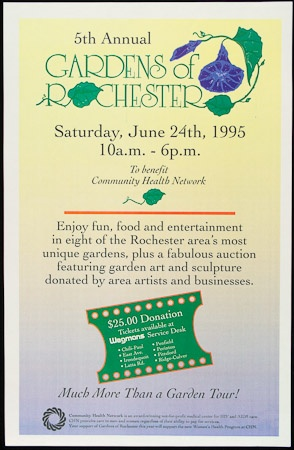 Poster of 5th Annual Gardens of Rochester tour. Saturday, June 24th, 1995. 10a.m. - 6p.m.