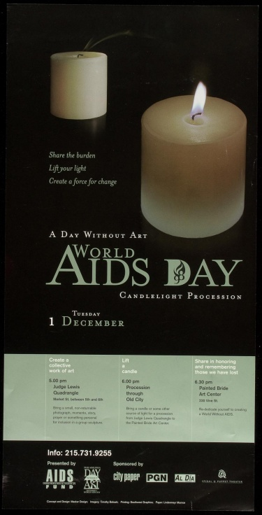 Poster of Day without art. World AIDS Day. Candlelight procession