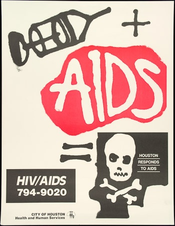 Poster of AIDS  Houston responds to AIDS.