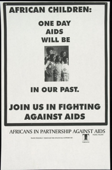 Poster of African children: one day AIDS will be in our past.