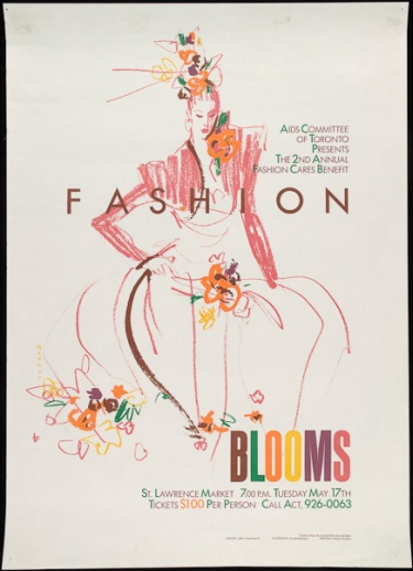 Poster of Fashion Blooms. AIDS Committee of Toronto presents 2nd annual Fashion Cares benefit.