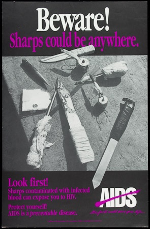 Poster of Beware! Sharps could be anywhere.