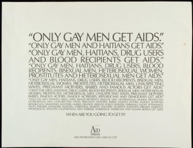 Poster of Only gay men get AIDS. Only gay men and Haitians get AIDS. Only gay men, Haitians, drug users [...] When are you going to get it?