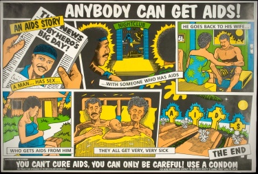 Poster of Anybody can get AIDS! You can't cure AIDS, you  can only be careful! Use a condom.