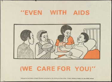 "Poster of ""Even with AIDS (We care for you)"""