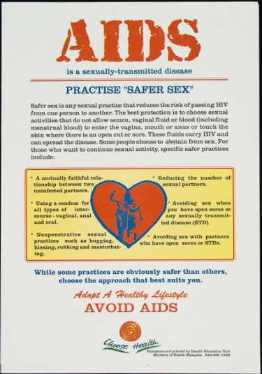 "Poster of AIDS is a sexually-transmitted disease. Practise ""safer sex"""