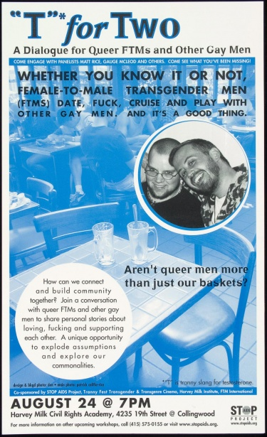 "Poster of ""T"" for two. A dialogue for queer FTMs (female to male transgenders) and other gay men."