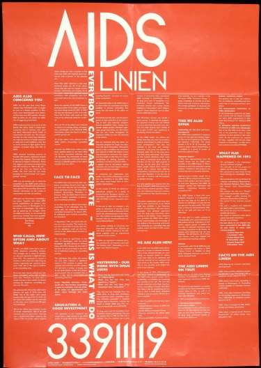 Poster of AIDS Linien. Everybody can participate. This is what we do.