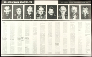 Poster of AIDS-Hotline annual report, 1991-1992