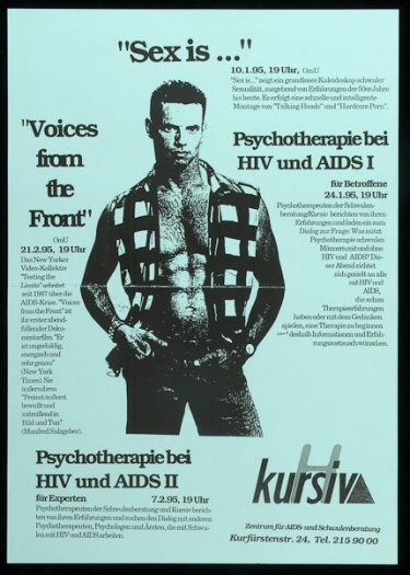"Poster of ""Sex is..."" ""Voices from the Front."" Psychotherapie bei HIV und AIDS I. Psychotherapie bei HIV und AIDS II"