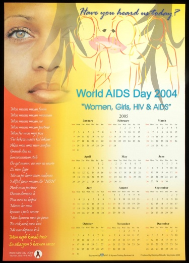 "Poster of Have you heard us today? World AIDS Day 2004. ""Women, Girls, HIV & AIDS"""