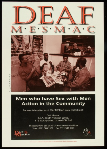Poster of Deaf Mesmac. Men who have sex with men action in the community.