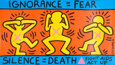 Poster of Ignorance=Fear. Silence=Death. Fight AIDS. Act up.