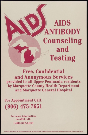 Poster of AIDS antibody counseling and testing.
